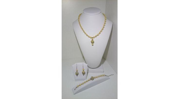 Arany Indonéz gyöngy szett - Szettek - FMGyöngy - Utazás a gyöngyök világába