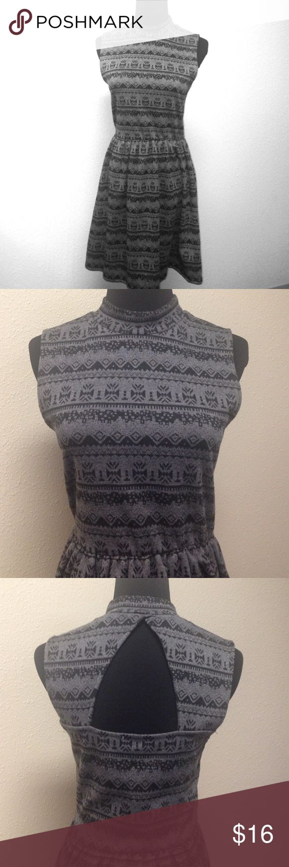 "Open Back Fit and Flare Mini Dress Excellent condition.  Black and gray patterned mini dress.  Open back, mock neck, pullover, elastic waist, sleeveless.  Approximate measurements laying flat: chest 16"" total length 33"", skirt length 17.5"". Stretchy.  80% Polyester 17% Rayon 3% Spandex. One Clothing Dresses Mini"