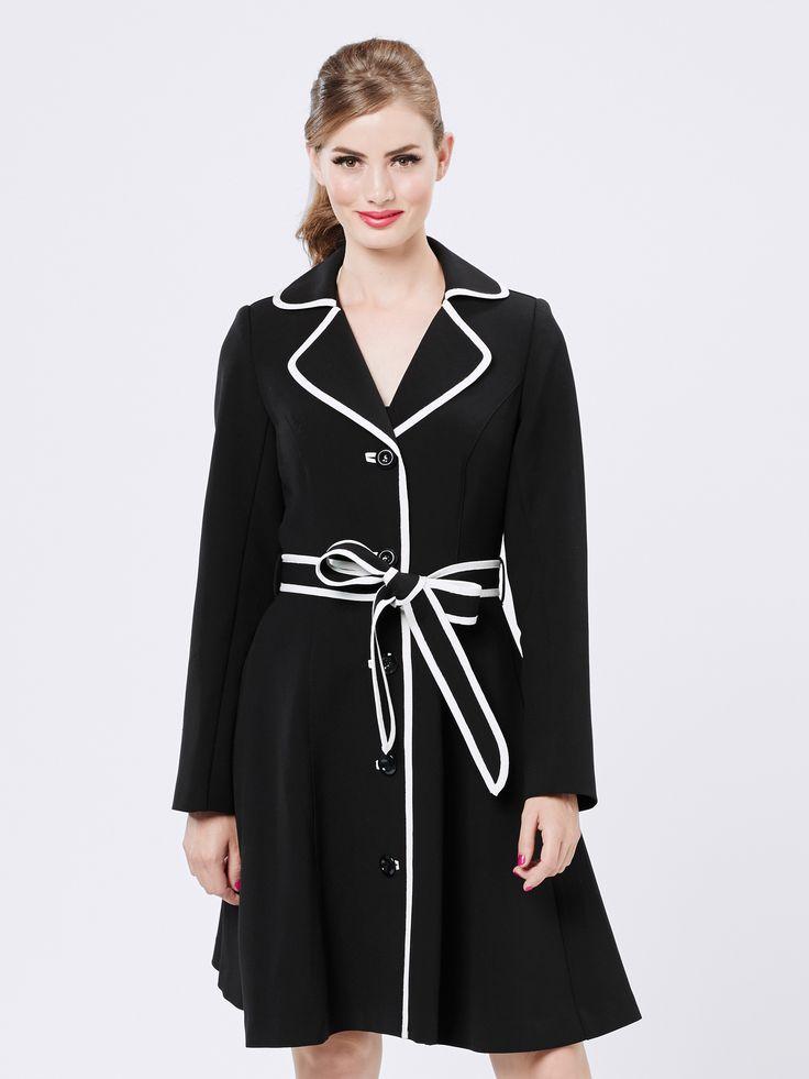 Greta Trench   Black & Cream   Coats