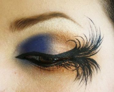 liner drawn to look like lashes.