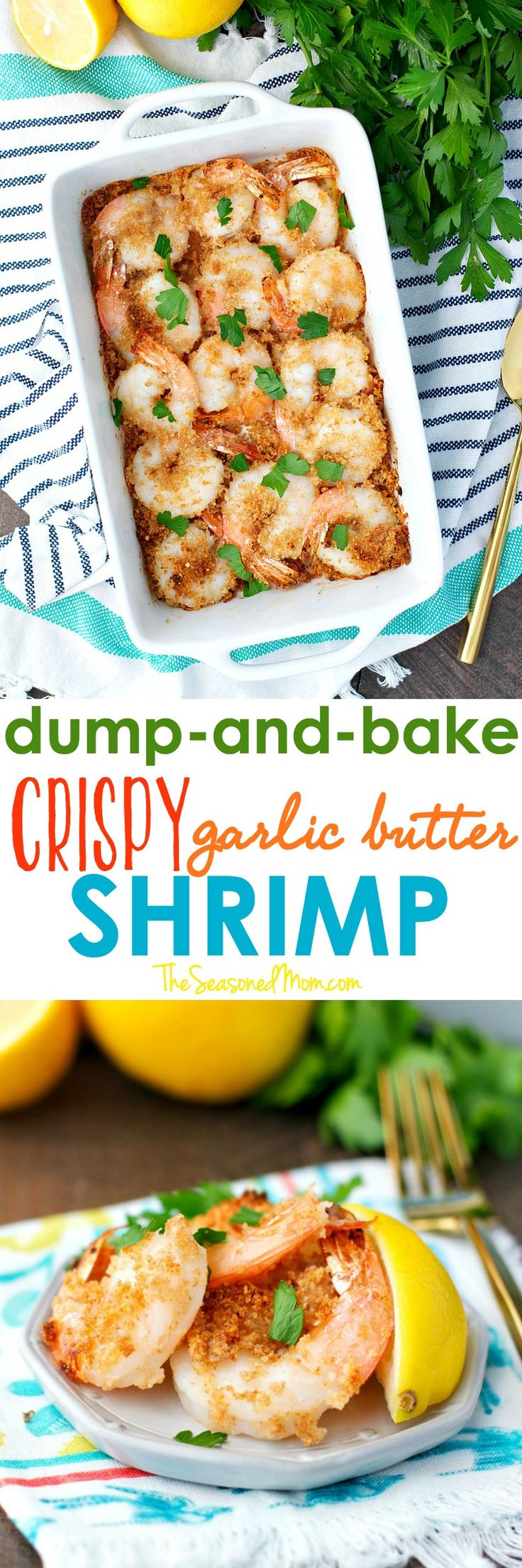 With just 5 ingredients and no prep work, this Dump and Bake Crispy Garlic Butter Shrimp is a healthy dinner or party appetizer that's ready in 15 minutes! #HealthyHeartPledge #SNPSweepstakes #ad