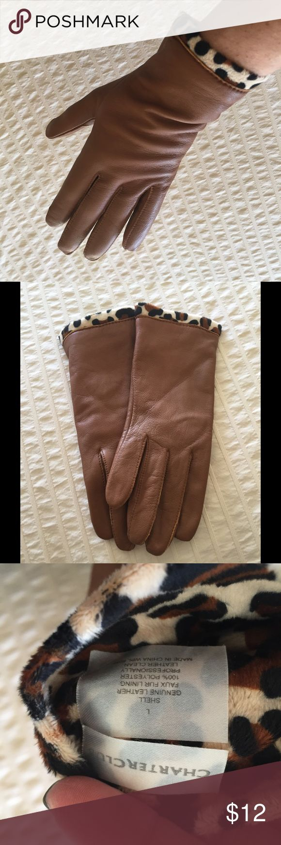 Brown leather gloves with leopard trim Brand new never worn camel colored leather gloves with leopard trim. Brand is charter club. Size large. Very comfy Charter Club Accessories Gloves & Mittens
