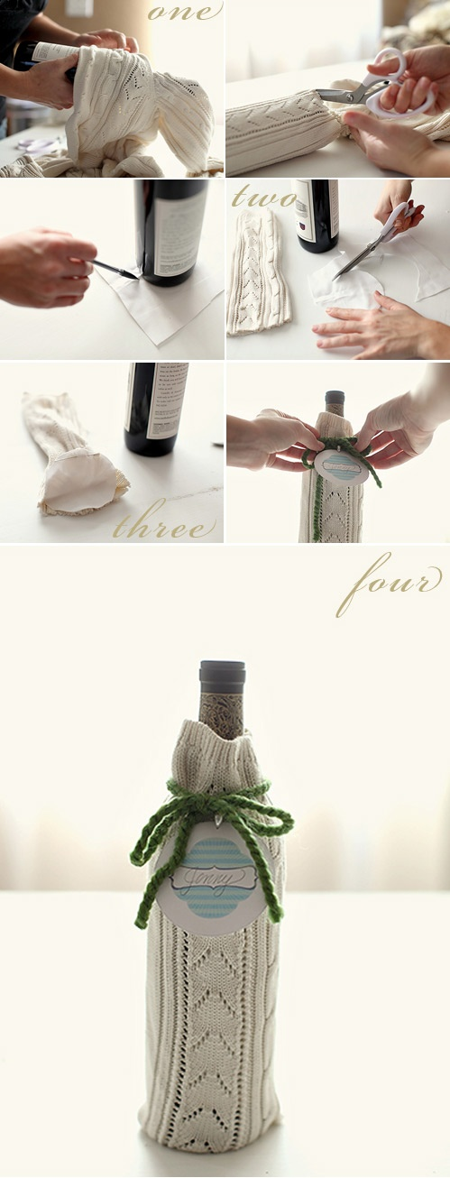 DIY - Wine Sweater Wrap. Full Step-by-Step Tutorial.: Gifts Bags, Old Sweaters, Gifts Ideas, Gifts Wraps, Wine Bottle Gifts, Upcycled Sweaters, Diy, Wine Bags, Wine Gifts
