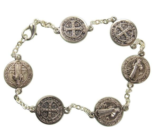 Pulseira São bento , prata velha, importada da Itália. Luxo Puro .  Medalhas de São Bento 1 cm de diâmetro.     20 cm. R$ 44,00