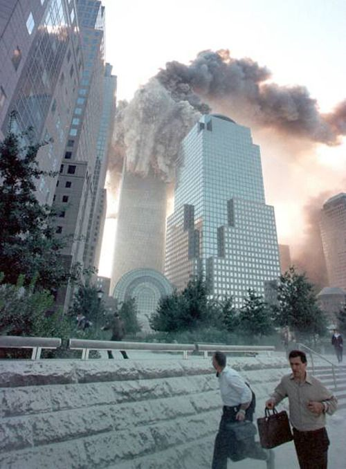 September 11, 2001 ~ One of the towers is collapsing.