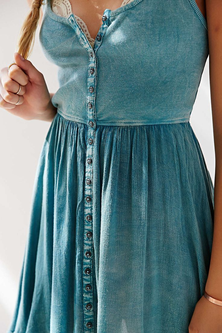 Ecote Moonbeam Button-Front Tank Dress - Urban Outfitters