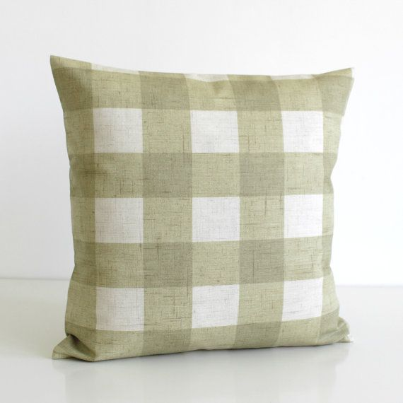 Shabby Chic Pillow Cover Gingham Cushion Cover by CoupleHome