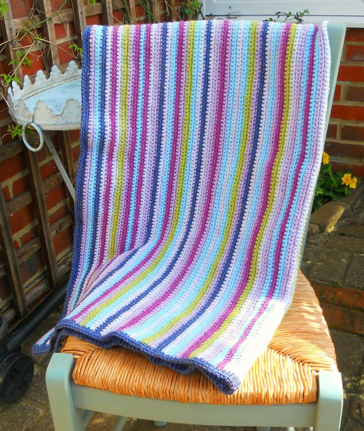 A HAND-MADE STRIPED CROCHET GRANNY STYLE BABY BLANKET ~ 38cm x 35cm