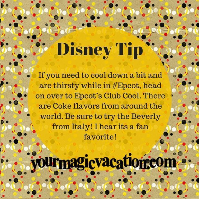 If you need to cool down a bit and are thirsty while in #Epcot, head on over to Epcot's Club Cool. There are Coke flavors from around the world. Be sure to try the Beverly from Italy! #DisneyTip