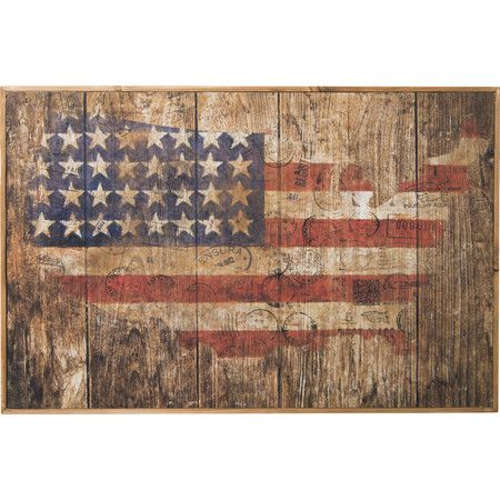 Lend a patriotic touch to the parlor or den with this weathered wood sign, showcasing an American map motif.  Product: Wall deco...