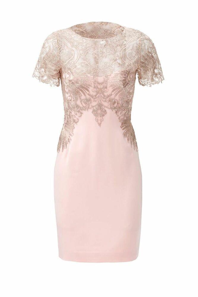 962396ae Marchesa Notte Pink Metallic Womens Size 2 Illusion Lace Sheath Dress $845-  #080