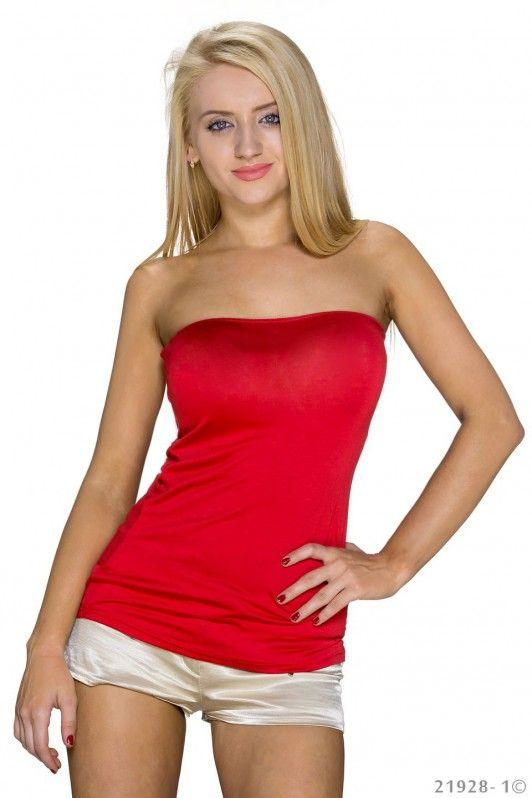 Rood strapless topje, getailleerd model