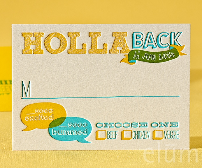 BILLBOARD | Elum Couture Vol. 3, Letterpress Reply Cards | Elum Designs, Letterpress Stationery, Invitations & Curator of Designer Paper Goods. Nothing short of small works of art. Letterpress wedding invitations, Elum, reply card, RSVP, mustard, teal, yellow and blue, large invitations, typography, holla back, hipster, whimsical