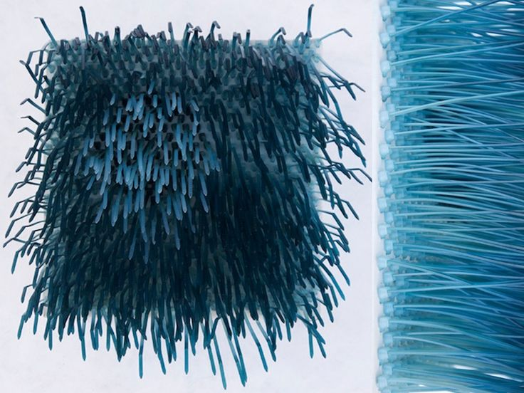 Sculptural textiles by Ealish Wilson   cable ties   http://www.madeinslant.com/wp-content/uploads/2014/02/bluemoon2.jpg