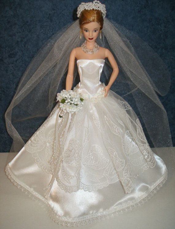 OOAK handmade 11.5″ fashion doll Bridal outfit — doll included