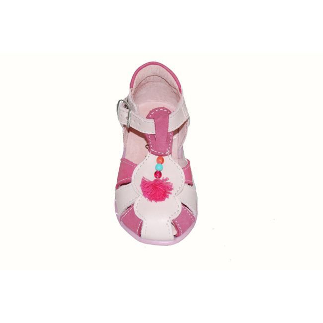#baby #footwear Παπουτσοπέδιλο Μούγερ δερμάτινο-σαμουά, ροζ με σχέδιο φουντάκι και ανατομικό πάτο.