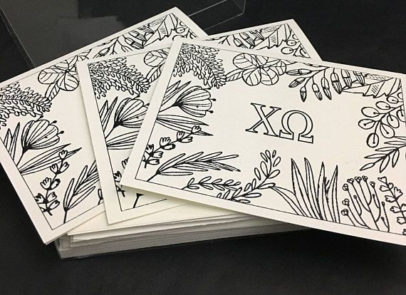 Chi Omega CHI O XO | 12 Spring Coloring Notecards | Sorority Recruitment Bid Day Reveal | Big Little Gift | Study Break | Graduation | Greek