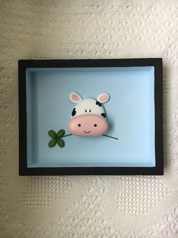 Cow Decor, Cow Wall Art, Painted Pebble Art Framed, Nursery Wall Decor, Kids Room Wall Hanging, Baby Shower Gift, Playroom Wall Art