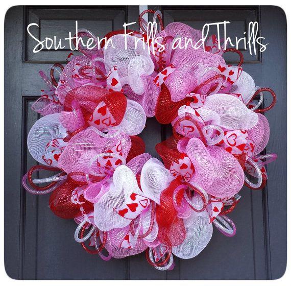 Valentine's Day Wreath, Valentine's Day Decor, Valentine's Wreath, Deco Meshâ?¦