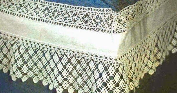Entremeio e ponta recortada que se podem aplicar em toalha ou lençol. Gosto da simplicidade geométrica que me lembra as rendas da mi...