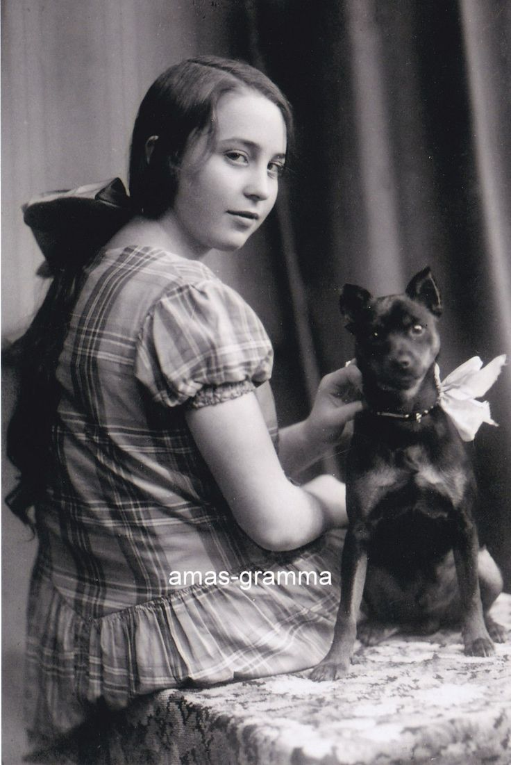 Victorian Teen Girl with Long Hair Sitting with Her Toy Manchester Terrier Dog | eBay