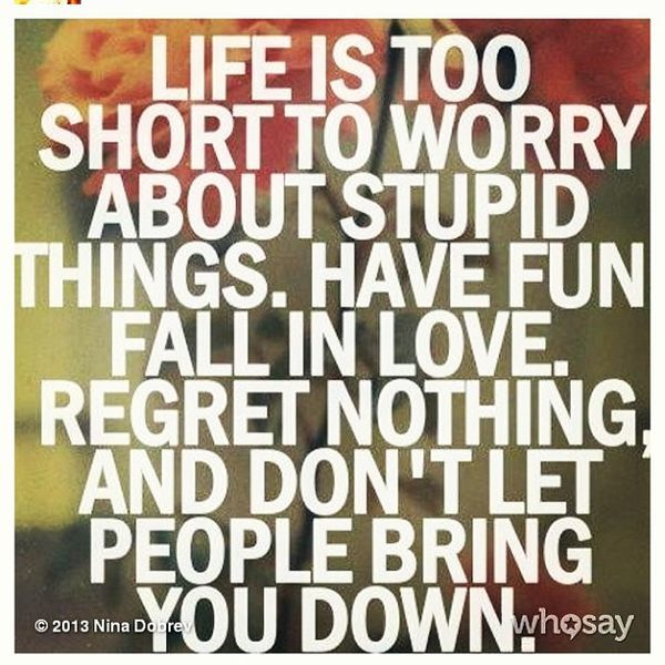 Falling In Love Too Quickly Quotes: Life Is Too Short To Worry About Stupid Things. Have Fun