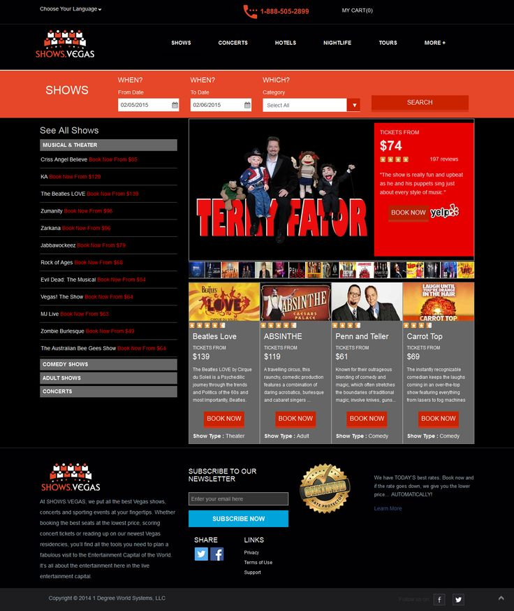 SHOWS.VEGAS -  we put all the best Vegas shows, concerts and sporting events. Booking the best seats at the lowest price, scoring concert tickets or reading up on our newest Vegas residencies.  We provide the tools you need to plan a fabulous visit to the Entertainment Capital of the World. Shows.vegas about the entertainment here in the live entertainment capital. http://vividinfotech.com/