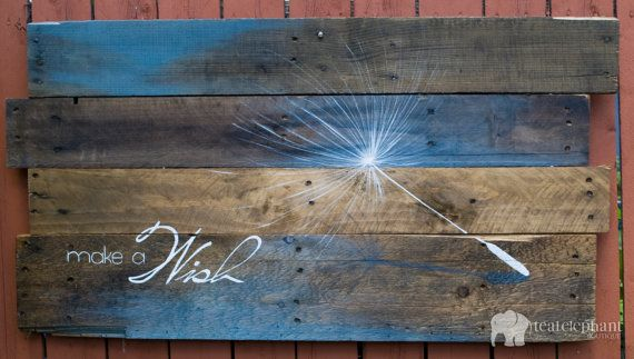 Pallet Art Dandelion Seed Make A Wish Wall Hanging - Blue Wood Rustic Shabby Chic Painted Color Wash Country
