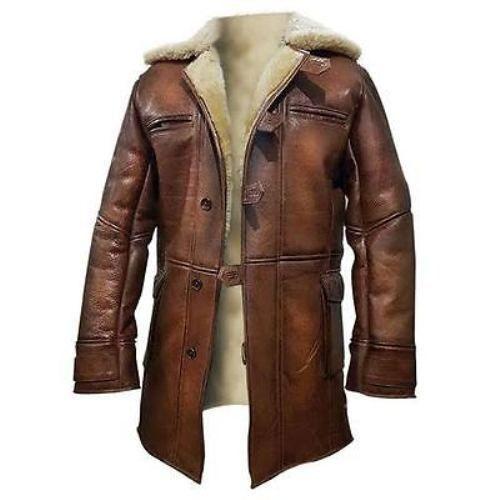 New Tom Hardy Dark Knight Rises Bane Shearling Brown Leather Jacket Coat  #BNH #BasicCoat