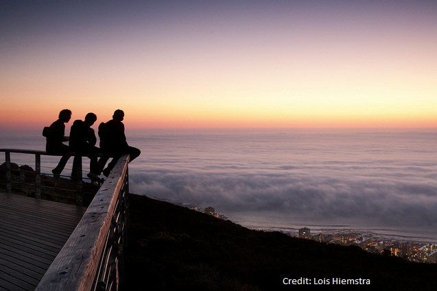 from the top of Table Mountain looking down over the Atlantic Seaboard - winter in the Cape