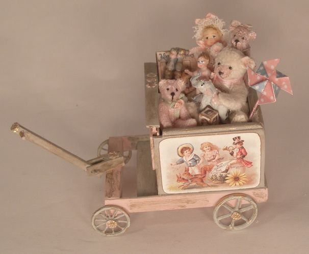 Cart Filled w/Toys by Gilles Roche - $385.00 : Swan House Miniatures, Artisan Miniatures for Dollhouses and Roomboxes