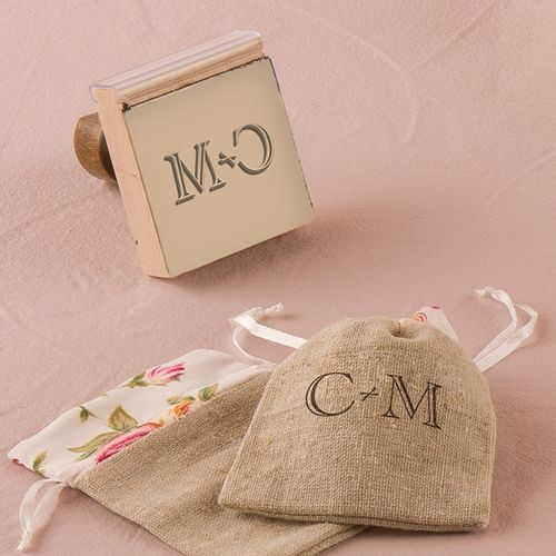 Burlap Chic Monogram Personalized Rubber Stamp - The Knot Shop