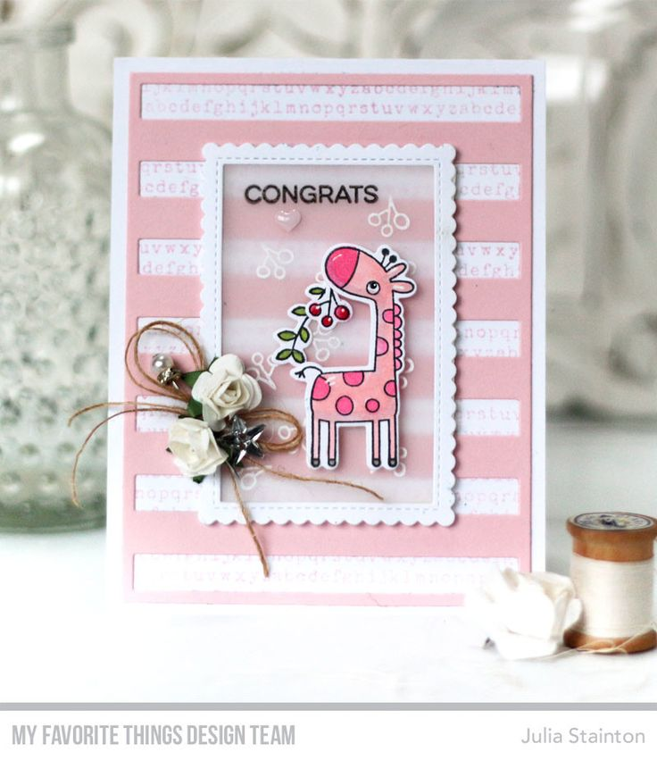 Giraffing Me Crazy Stamp Set and Die-namics, Typewriter Text Background, Bold Stripes Cover-Up Die-namics, Stitched Rectangle Scallop Edge Frames Die-namics - Julia Stainton  #mftstamps