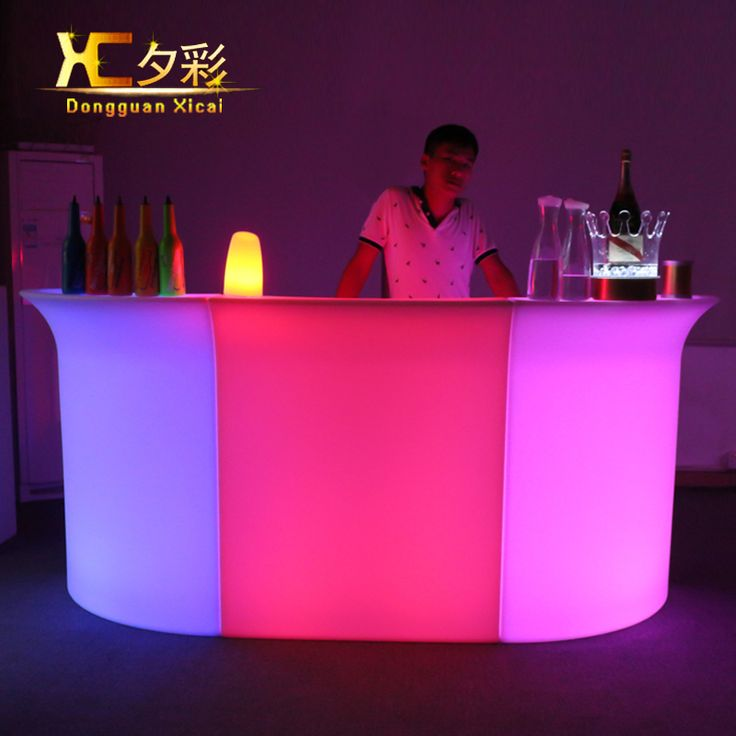 Epic Plastic LED Bar Table Color Changing Bar Counter Club Waiter Mobile Counters with ice cooler