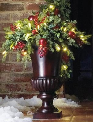 Battery-operated Holly and Berry Christmas Urn Filler
