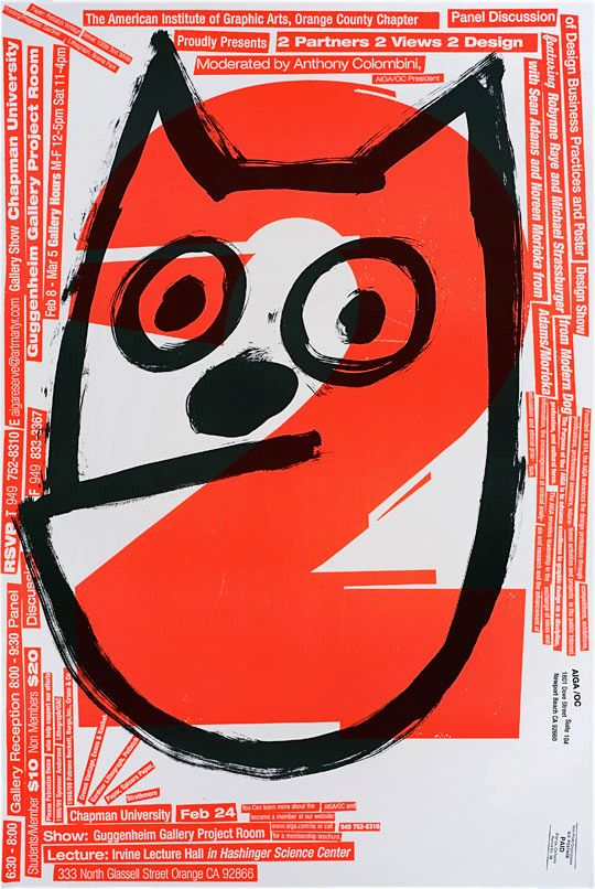 Modern Dog, poster for joint exhibition with AdamsMorioka, 1998