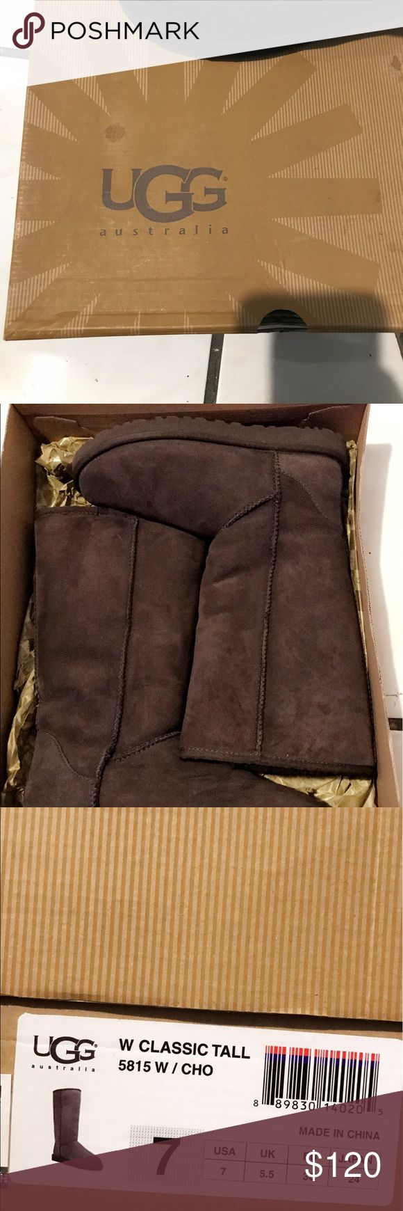 Ugh classic tall boots Ugg classic tall boots in the color chocolate . Size 7 . Worn once indoors so are still in perfect/new condition!! Only damage is a stain to the lid of the box absolutely nothing wrong with boots! UGG Shoes Winter & Rain Boots