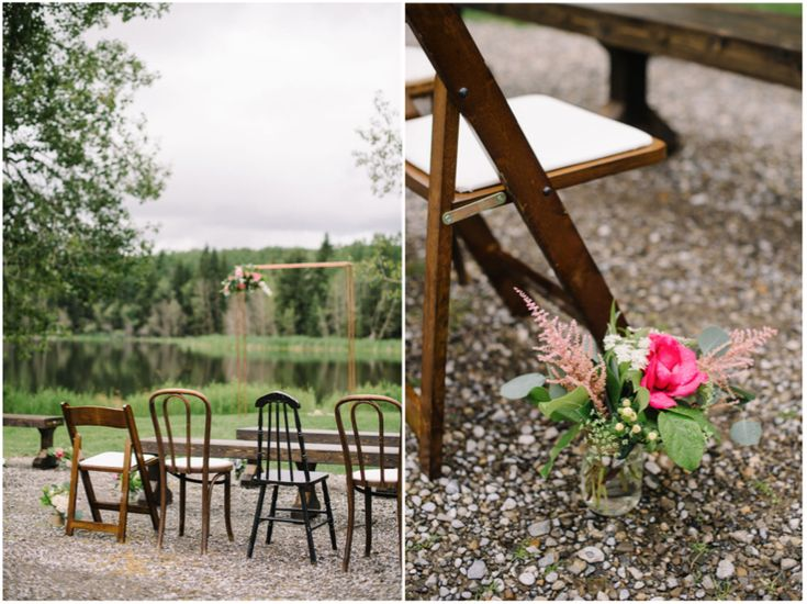 Vintage chairs and benches lined up for an intimate outdoor ceremony. See the full ranch wedding on the blog!