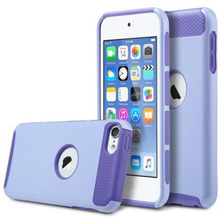 ULAK iPod Touch 5 case,iPod Touch 6 Case,[Colorful Series] 2-Piece Style Hybrid Shockproof Hard Case Cover for Apple iPod touch 5 6th Generation (Light Purple+Purple)