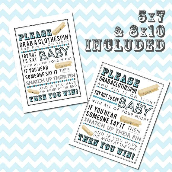Blue Clothespin Game Printable For Baby Shower (without Bow Ties) 5x7 U0026  8x10 PDF