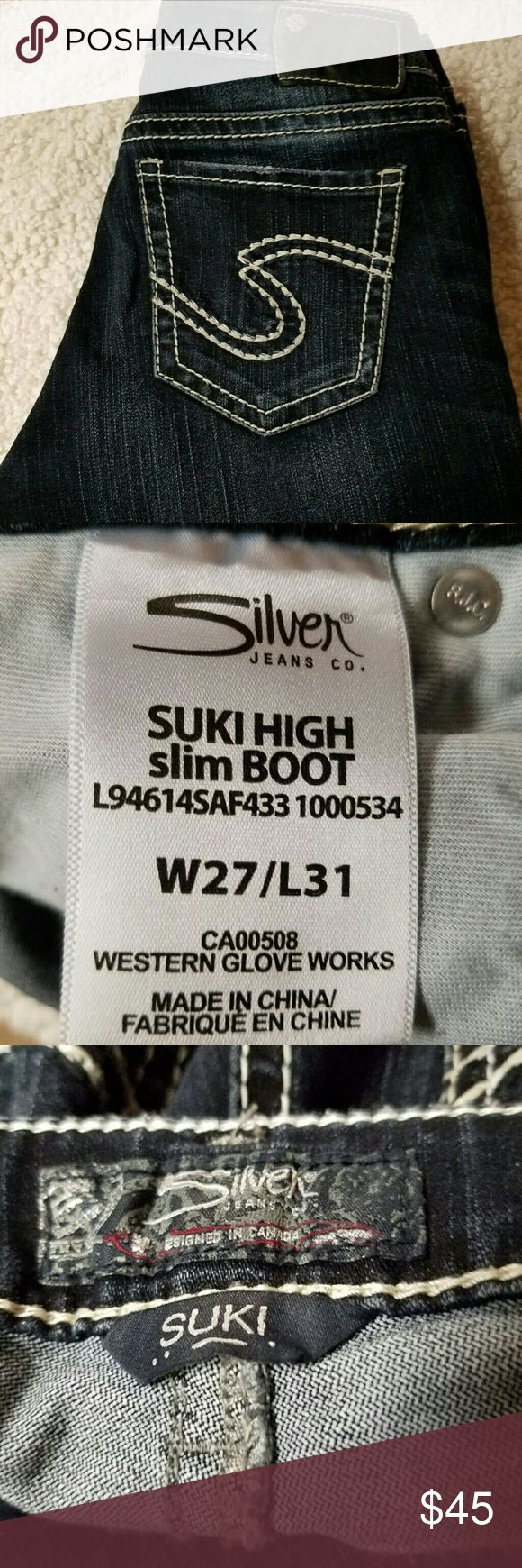 """Women's Silver Jeans Women's  Silver Jeans Suki w27/l31 Waist laying flat 15 1/2"""" Inseam 32"""" Rise 9"""" Silver Jeans Jeans Boot Cut"""