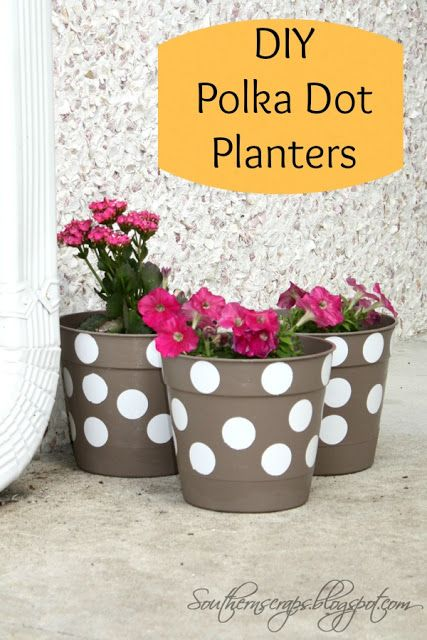 DIY Polka Dot Planters by southernscraps.com #36thavenuefavorites #forthehome