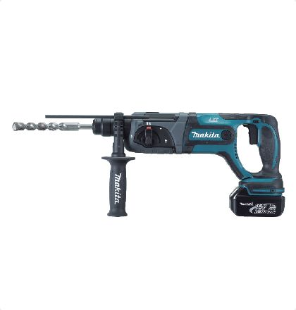 """Makita BHR241RFE Cordless Hammer Drill     Light weight although being a 3-mode rotary hammer.     3 operation modes """"Hammering with rotation"""",""""Hammering only"""",""""Rotation only"""".     Ergonomically designed handle with rubberized grip provides more control and comfort.     One-touch sliding chuck enables easy bit changes. For More Details: http://www.mrthomas.in/makita-bhr241rfe-cordless-hammer-drill_8"""