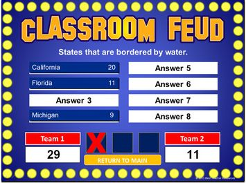 """Create your own """"Family Feud"""" style games with this PowerPoint template! http://bestteacherblog.com/family-feud-powerpoint-template-classroom-feud/"""