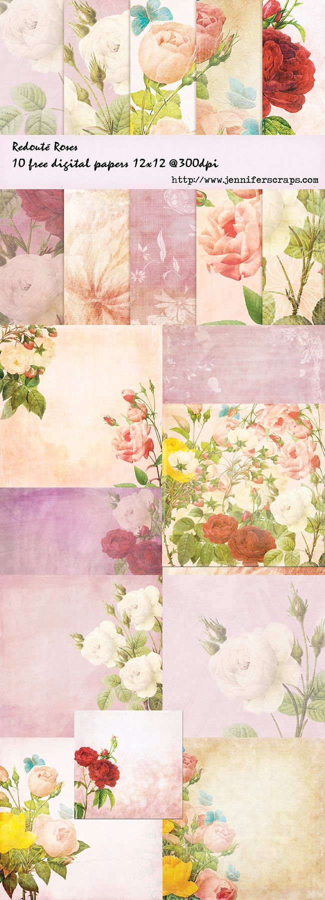 Free Redoute Rose Digital Scrapbooking Papers Part 1