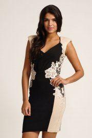 Little Mistress Black & Cream Contrast Lace Bodycon Dress