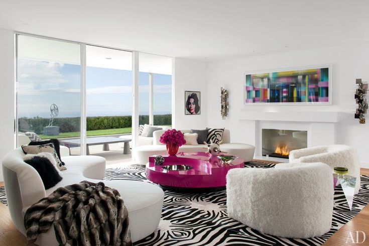 The living room of Elton John and David Furnish's Los Angeles home, which was designed by Martyn Lawrence Bullard.