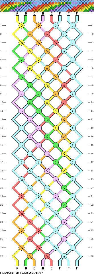 Rainbow Friendship Bracelet Pattern