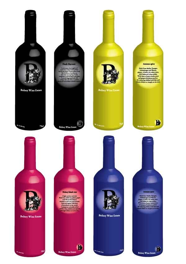 Bottle design for a local Sussex vineyard Bolney.