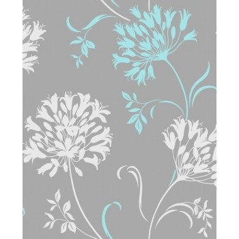 Agapanthus Teal/Soft Grey Wallpaper by Fine Decor DL30458--> good for office with black desk